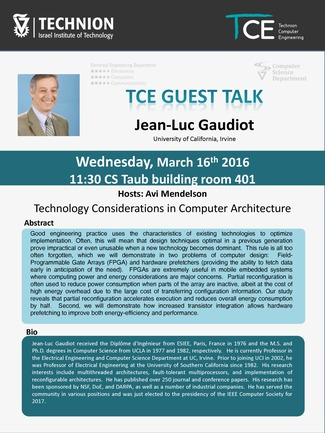 TCE Guest Lecture: Technology Considerations in Computer Architecture