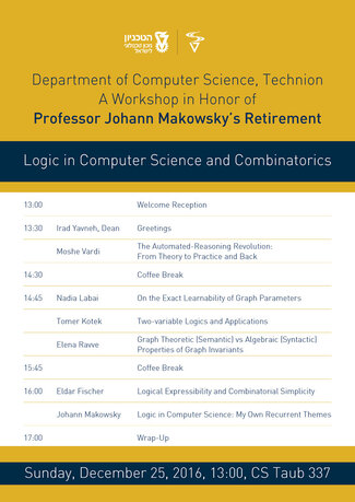 TODAY! A Workshop in Honor of Prof. Johann Makowsky's Retirement