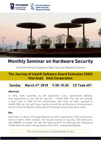 Hardware Security Seminar: The Journey of Intel® Software Guard Extension (SGX)