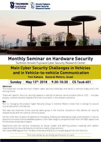 Hardware Security Seminar: Main Cyber Security Challenges in Vehicles and in Vehicle-to-vehicle Communication