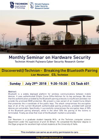 Hardware Security Seminar: Discovered@Technion --  Breaking the Bluetooth Pairing