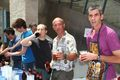 Professors serve beer to students at CS end-of-year fest
