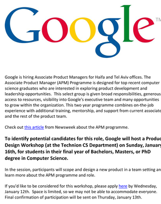 Google Product Design Workshop at the CS Department