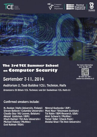 REMINDER - The 3rd TCE Summer Course on Computer Security