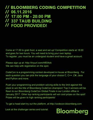 TODAY! BLOOMBERG Coding Competition